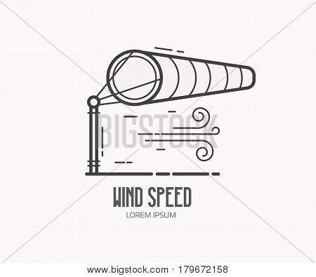 Wind speed logo with inflated striped windsock on airport runway. Wind bag logotype or label template in thin line design. Windy weather meteorologic vector icon.