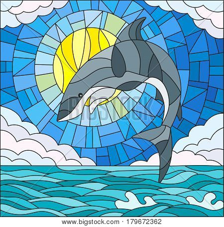 Illustration in stained glass style with a shark on the background of water cloud sky and sun