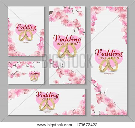 Vector greeting and wedding invitation cards with japanese sakura, cherry blossom flowers. Invitation wedding with cherry flower, illustration of spring sakura flower