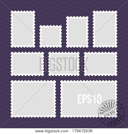Postage stamps with perforated edge and mail stamp vector template. Set of postal stamp frame, illustration of stamp for mail
