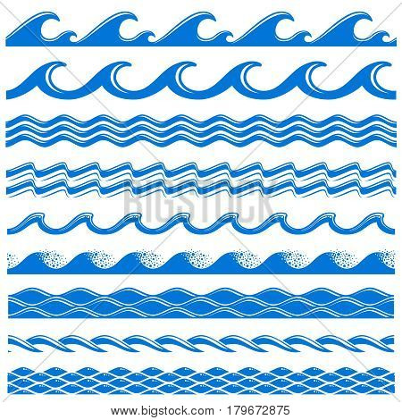 Sea water waves vector seamless borders set. Decorative wave sea, illustration of pattern water sea border wave