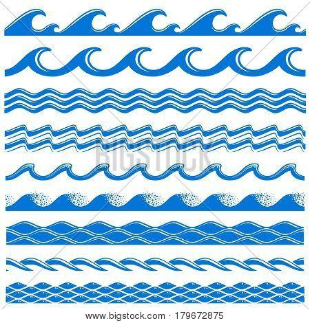 Sea water waves vector seamless borders set. Decorative wave sea, illustration of pattern water sea border wave
