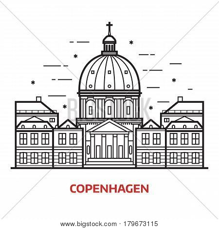 Travel Copenhagen landmark icon. Marble church and royal palace is one of the famous tourist attractions in the capital of Denmark. Thin line dome cathedral vector illustration in outlined design.