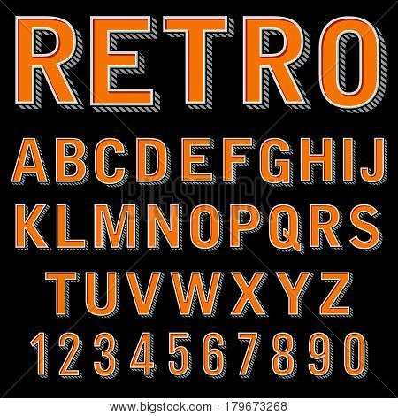 Vintage 3 dimensional typeset, retro font, vector letters and numbers, decorative type, cartoon alphabet. Retro design alphabet typeface illustration
