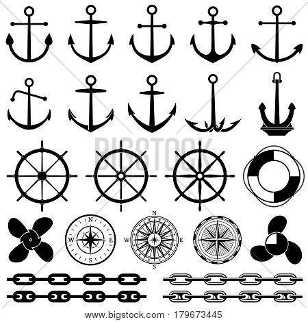Anchors, rudders, chain, rope, knot vector icons. Nautical elements for marine design. Set of marine element, illustration of black marine equipment