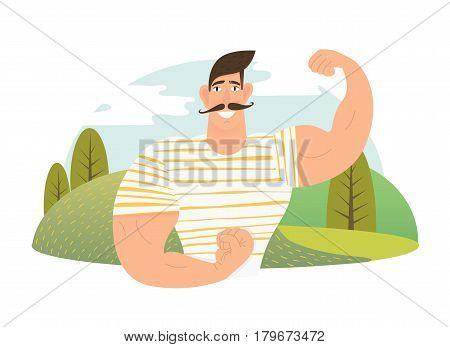 Strongman athlete showing bisep cartoon vector illustration