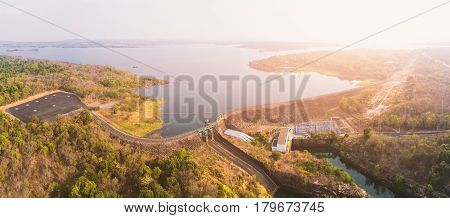 Aerial view of Sirindhorn Dam in Ubon Ratchathani Thailand. panorama. Dam in Thailand. Dam station. Dam power.