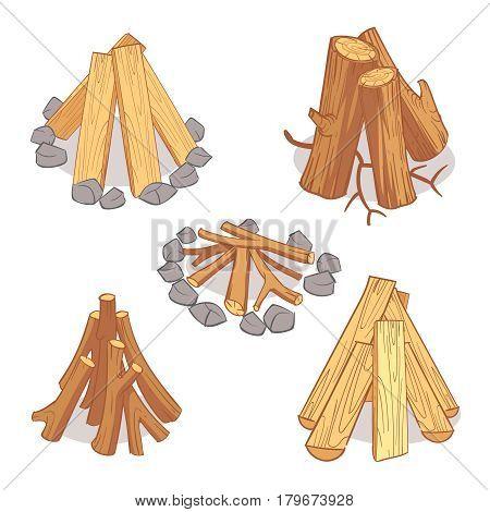 Wood stacks and hardwood firewood, wooden logs cartoon vector set. Timber for firewood, illustration of hardwood timber log
