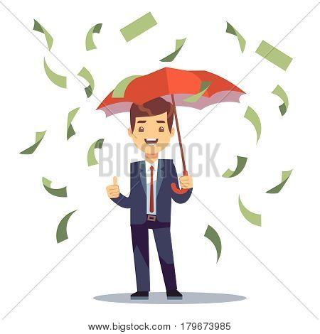 Businessman standing with umbrella in money rain vector illustration. Man with umbrella under money rain