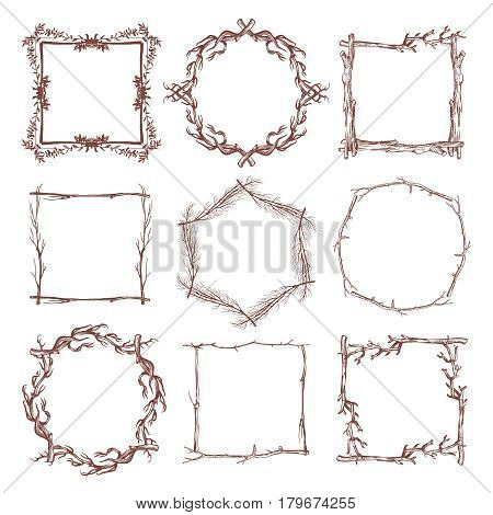 Vintage rustic branch frame borders, hand drawn vector set. Branch dry frame design, illustration of botanical frame pattern from branch