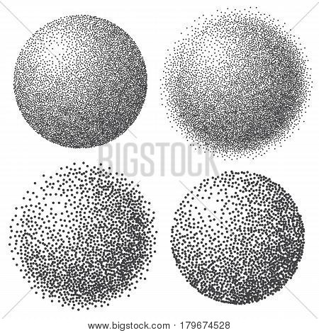 Abstract dotted sphere 3d halftone dot effect. White color black background. Vector illustration.