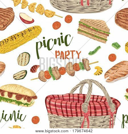 Picnic party. Seamless pattern with food and basket. Grilled meat, fish, vegetables, sandwiches, corn, kebab, fruits . Isolated elements. Vector illustration