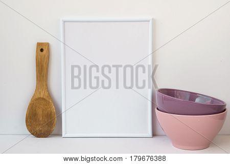 Frame mockup on white background colorful ceramic bowls wood spoon styled image for social media marketing blogging