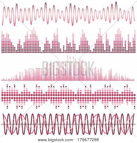 Vector set of pink sound waves. Audio equalizer. Sound & audio waves isolated on white background.