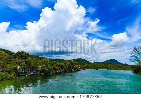 Fishing village with blue sky In Sikao Thailand.