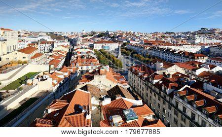 Lisbon skyline from Santa Justa Lift Portugal