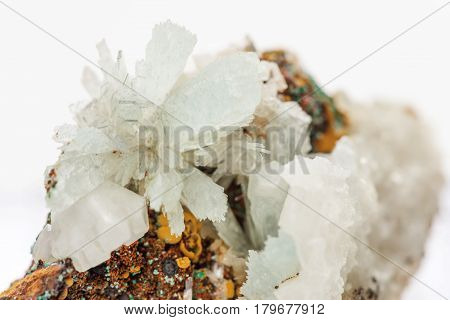 Beautiful druse of transparent crystals of hemimorphite on the matrix. Gemimorphite is zinc ore and mineral for collection