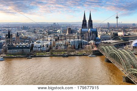 Aerial view of Cologne Germany at day.