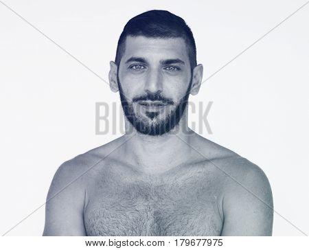 Middle Eastern Man Bare Chest Studio Portrait