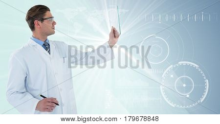 Digital composite of Man in lab coat and goggles with pen holding up glass device against white interface with big flare
