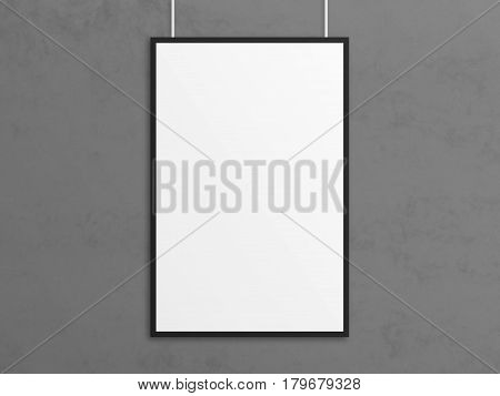 Empty 3D illustration tabloid poster mockup with black frame. Gray wall background.