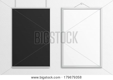 Two tabloid posters 3D illustration mock up with frame hanging on sandstone wall.
