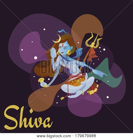 Lord Shiva, indian god in the lotus position and meditate space . Maha Shivaratri hinduism religion, traditional asian culture spiritual mythology, deity worship festival vector illustrations.