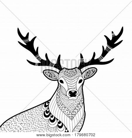 Creative doodle illustration of wild deer, hand drawn for the coloring book. Vector illustration in modern style.