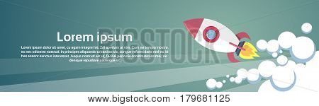Flying Rocket Business Startup Concept Banner With Copy Space Flat Vector Illustration