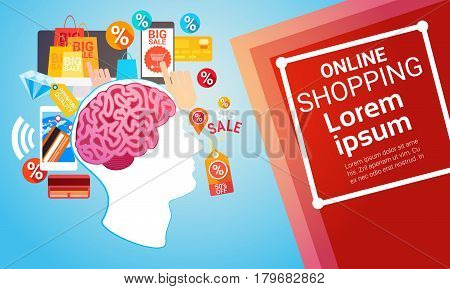 Online Shopping Internet Buy Commerce Web Banner Vector Illustration