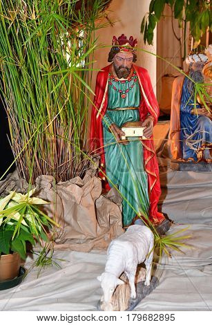 Triel sur Seine France - december 28 2016 : nativity scene in the historical Saint Martin church