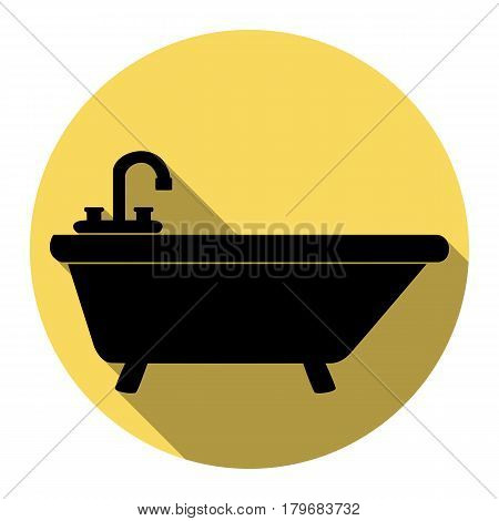 Bathtub sign illustration. Vector. Flat black icon with flat shadow on royal yellow circle with white background. Isolated.