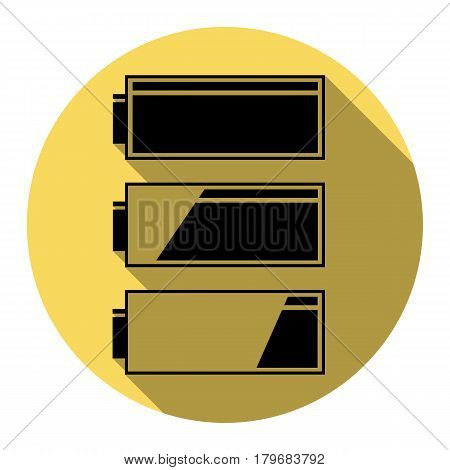 Set of battery charge level indicators. Vector. Flat black icon with flat shadow on royal yellow circle with white background. Isolated.