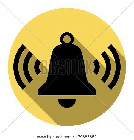 Ringing bell icon. Vector. Flat black icon with flat shadow on royal yellow circle with white background. Isolated.