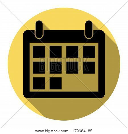 Calendar sign illustration. Vector. Flat black icon with flat shadow on royal yellow circle with white background. Isolated.