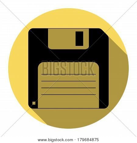 Floppy disk sign. Vector. Flat black icon with flat shadow on royal yellow circle with white background. Isolated.