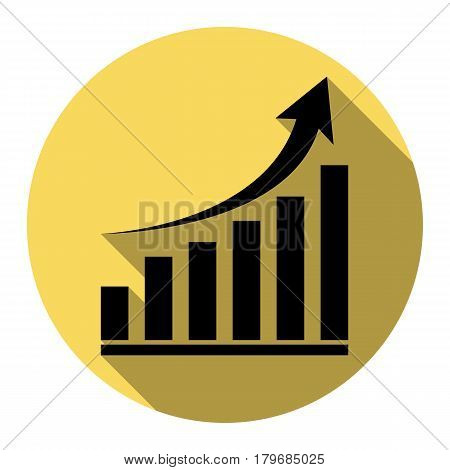 Growing graph sign. Vector. Flat black icon with flat shadow on royal yellow circle with white background. Isolated.
