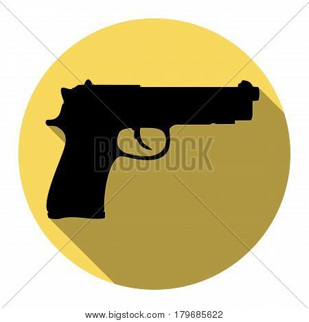 Gun sign illustration. Vector. Flat black icon with flat shadow on royal yellow circle with white background. Isolated.