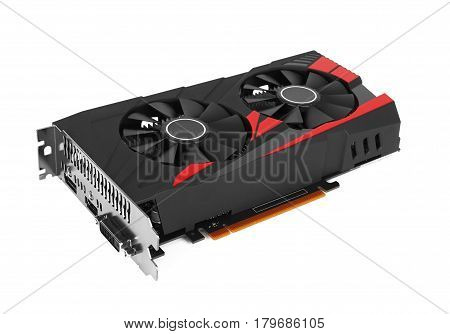computer video card isolated on a white background