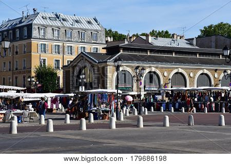 Versailles France - august 13 2016 : the picturesque market in summer