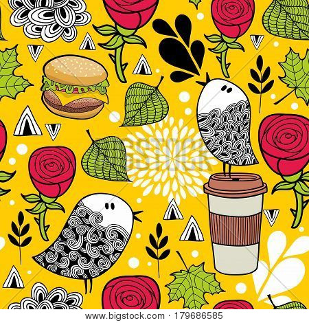 Seamless pattern with doodle birds and fast food. Vector illustration.