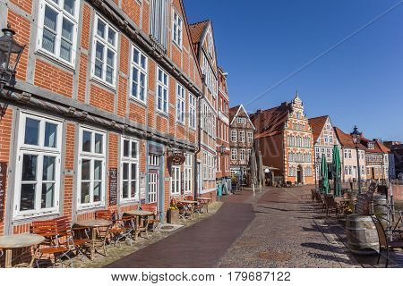 STADE, GERMANY - MARCH 27, 2017: Bars and restaurants at the old harbor of Hanseatic city Stade, Germany