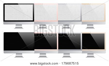 computer mockup set isolated on white background. stock vector illustration eps10