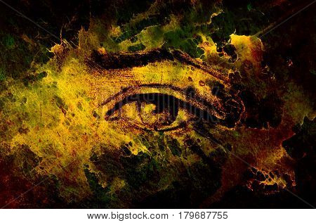 sketch of woman eye with eyebrow, drawing on abstract background