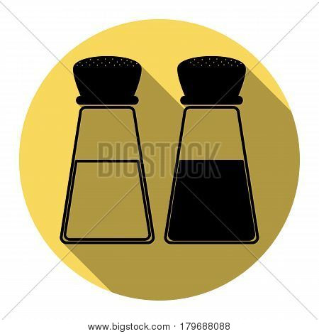 Salt and pepper sign. Vector. Flat black icon with flat shadow on royal yellow circle with white background. Isolated.