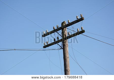 Wire breakage after hurricane. Broken power line. Hurricanes caused more damage than expected including loss of electricity for thousands of homes.