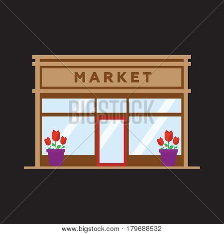 Market front store building flat style vector