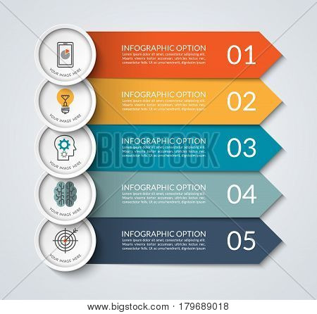 Infographic banner with arrow and circle design elements. Business concept with 5 options, steps, parts. Vector template that can be used as a chart, graph, diagram, workflow layout