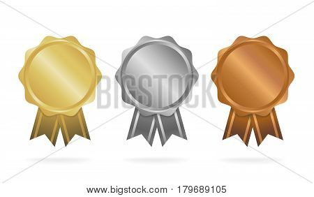 First Place. Second Place. Third Place. Award Medals Set Isolated On White With Ribbons And Stars. V