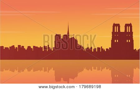 Collection stock of France city scnery silhouettes vector illustration